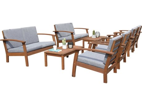 International Home Miami Amazonia Burano 8 Piece Wood Cushion Conversation Set