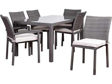 International Home Miami Atlantic Liberty 7 Piece Rectangular Dining Set Grey