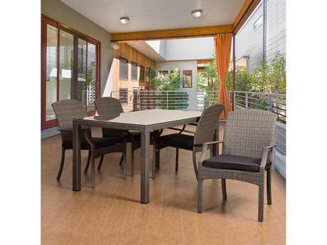 International Home Miami Atlantic Sanibel 5 Piece Rectangular Dining Set Grey