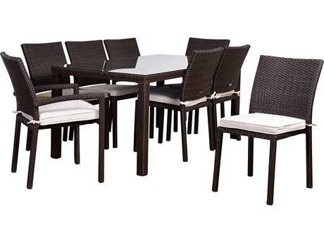 International Home Miami Atlantic Liberty 9 Piece Rectangular Dining Set Brown