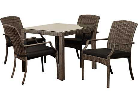 International Home Miami  Atlantic Wicker Square Five Piece Grey Rolland Dining Set