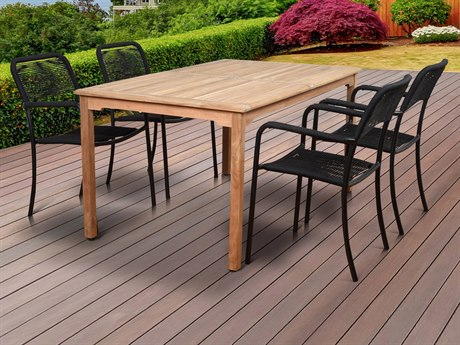 International Home Miami Amazonia Oosterdam 5 Piece Teak Rectangular Dining Set