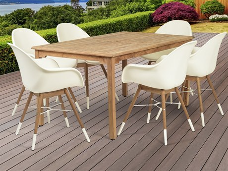 International Home Miami Amazonia Charlotte 7 Piece Teak Rectangular Dining Set