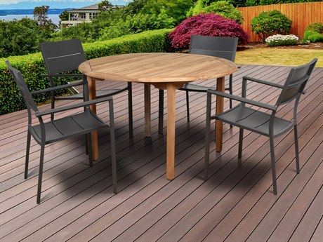 International Home Miami Amazonia Koningsdam 5 Piece Teak Round Dining Set