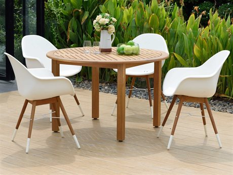 International Home Miami Amazonia Charlotte 5 Piece Round Wood Dining Set
