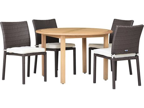 International Home Miami Amazonia Damian 5 Piece Round Wood Dining Set