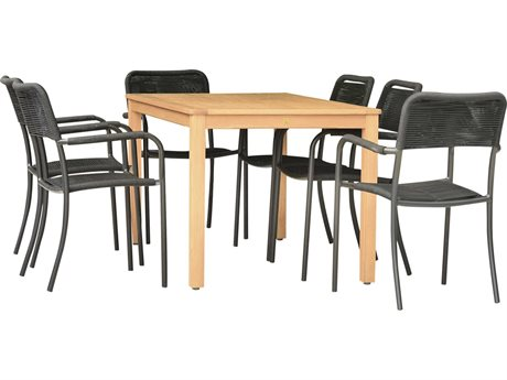 International Home Miami Amazonia Oosterdam 7 Piece Rectangular Wood Dining Set