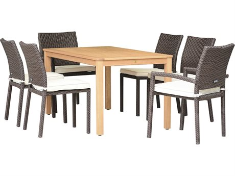 International Home Miami Amazonia Damian 7 Piece Rectangular Wood Dining Set