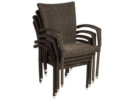 International Home Miami  Atlantic Wicker Bari Dining Arm Chair (4 Piece Set)