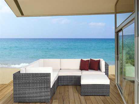 International Home Miami  Atlantic Wicker Six Piece Grey Bellagio Seating Set with Off-White Cushions
