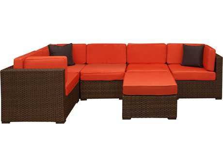 International Home Miami  Atlantic Wicker Six Piece Bellagio Sectional Set with Orange Cushions PatioLiving