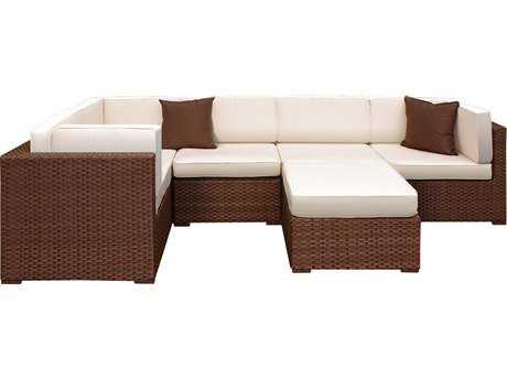 International Home Miami  Atlantic Wicker Six Piece Bellagio Sectional Set with Off-White Cushions
