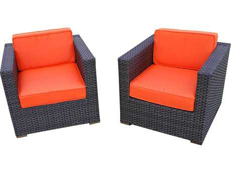 International Home Miami  Atlantic Wicker Two Piece Bellagio Armchair Set with Orange Cushions