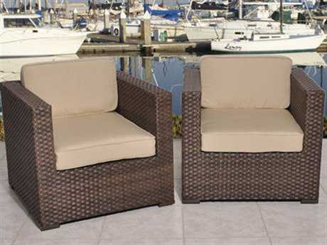 International Home Miami  Atlantic Wicker Two Piece Bellagio Deluxe Armchair Set with Antique Beige Cushions