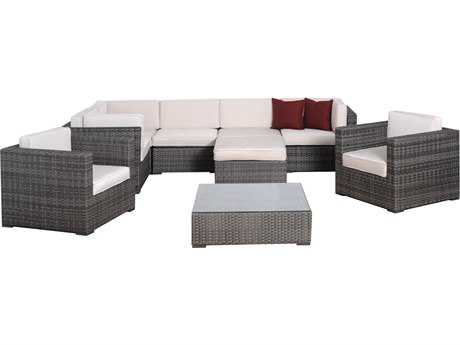 International Home Miami  Atlantic Wicker Nine Piece Grey Southampton Seating Set with Off White Cushions