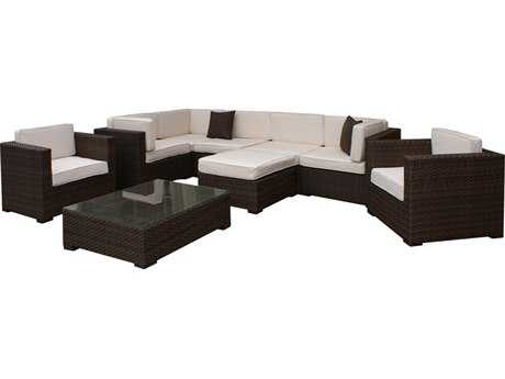 International Home Miami  Atlantic Wicker Nine Piece Southampton Sectional Set with Off-White Cushions