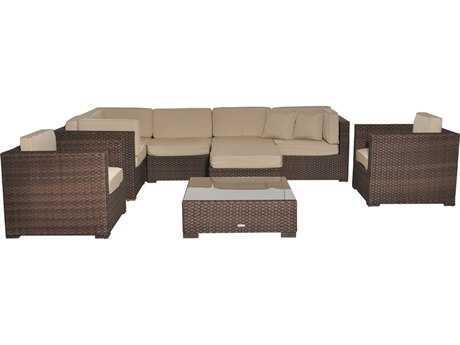 International Home Miami  Atlantic Wicker Nine Piece Southampton Deluxe Sectional Set with Antique Beige Cushions