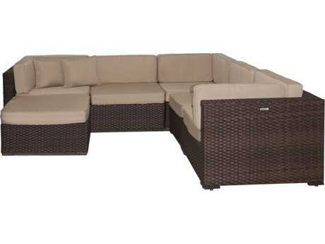 International Home Miami  Atlantic Wicker Six Piece Bellagio Deluxe Sectional Set with Antique Beige Cushions PatioLiving