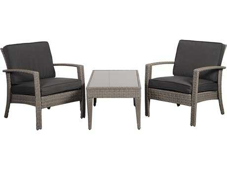 International Home Miami  Atlantic Wicker Grey Three Piece Florida Deluxe Conversation Set with Grey Cushions