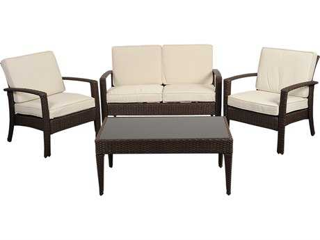 International Home Miami  Atlantic Wicker Brown Four Piece Florida Deluxe Conversation Set with Off-White Cushions