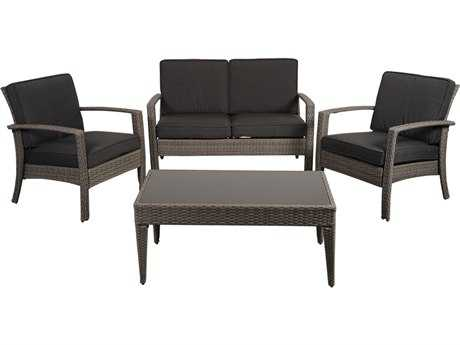 International Home Miami  Atlantic Wicker Grey Four Piece Florida Deluxe Conversation Set with Grey Cushions PatioLiving