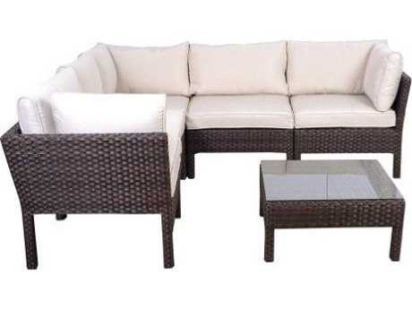 International Home Miami  Wicker Infinity Six Piece Atlantic Seating Set Dark Brown
