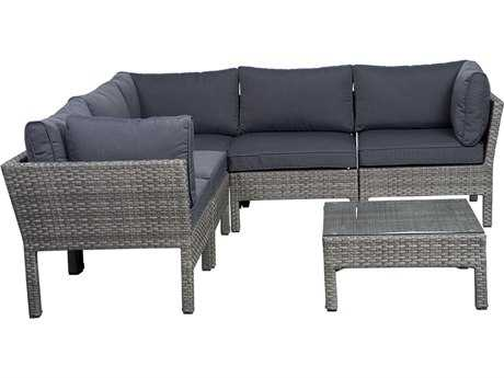 International Home Miami  Atlantic Wicker Grey Six piece Infinity Seating Set PatioLiving