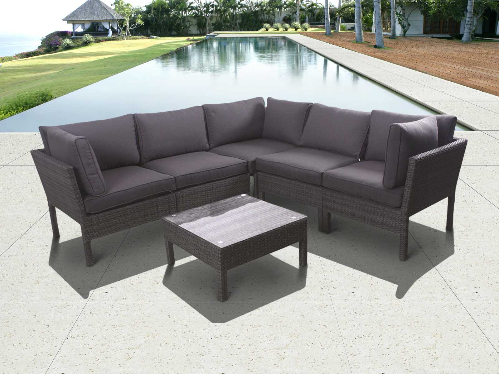 International home miami atlantic wicker grey six piece for International seating decor