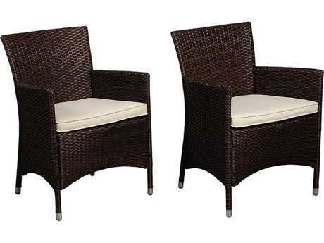 International Home Miami  Atlantic Wicker Brown Liberty Deluxe Dining Arm Chair (2 Piece Set) PatioLiving