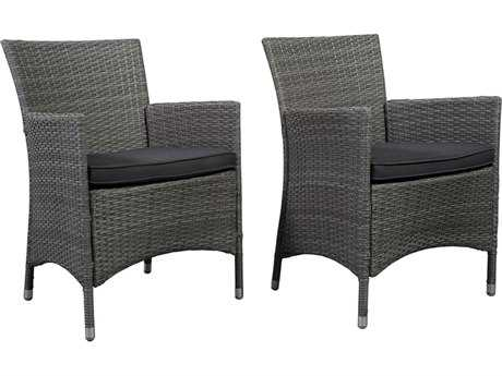 International Home Miami  Atlantic Wicker Grey Liberty Deluxe Dining Arm Chair (2 Piece Set)