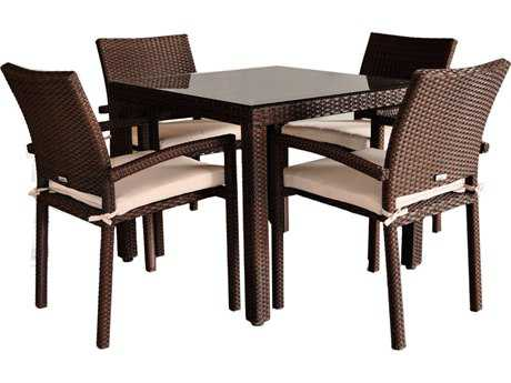 International Home Miami  Atlantic Wicker Square Brown Five Piece Liberty Dining Set