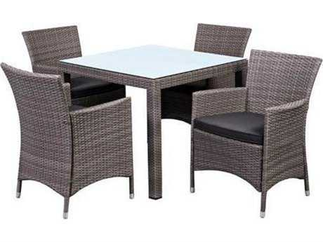 International Home Miami  Atlantic Wicker Square Brown Five Piece Grand New Liberty Deluxe Dining Set