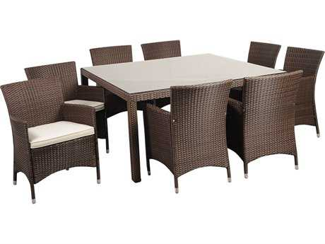 International Home Miami  Atlantic Wicker Square Grey Nine Piece Grand New Liberty Deluxe Dining Set