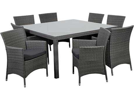 International Home Miami  Atlantic Wicker Square Brown Nine Piece Grand New Liberty Deluxe Dining Set