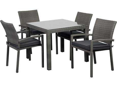 International Home Miami  Atlantic Wicker Square Grey Five piece Armchair Liberty Dining Set PatioLiving