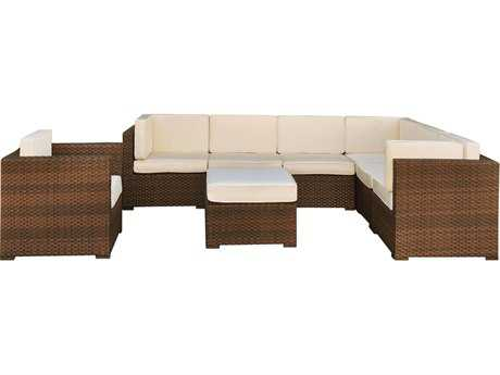 International Home Miami  Atlantic Wicker Dark Brown Eight Piece Marseille Sectional Set with Off-White Cushions