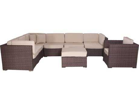International Home Miami  Atlantic Wicker Dark Brown Eight Piece Marseille Deluxe Sectional Set with Antique Beige Cushions