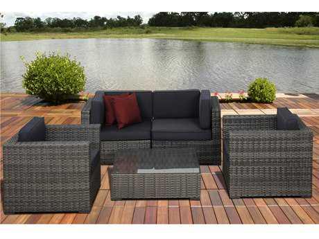 International Home Miami  Atlantic Five Piece Grey Metz Seating Set with Grey Cushions