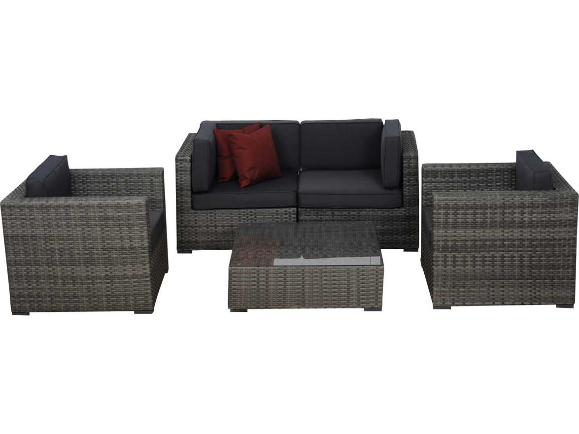 international home miami atlantic five piece grey metz seating set with grey cushions. Black Bedroom Furniture Sets. Home Design Ideas