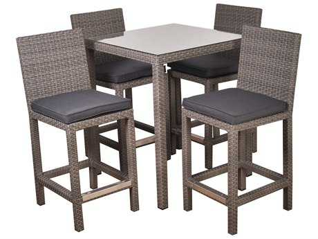 International Home Miami  Atlantic Wicker Square Grey Five piece Monza Bar Set