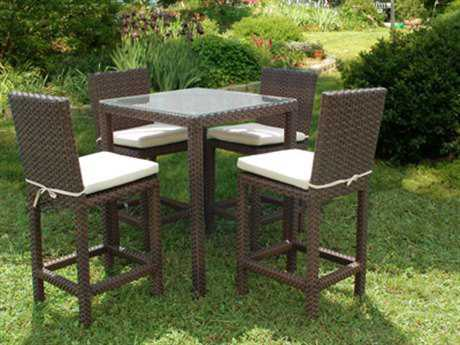 International Home Miami  Atlantic Wicker Square Dark Brown Five Piece Monza Bar Set PatioLiving