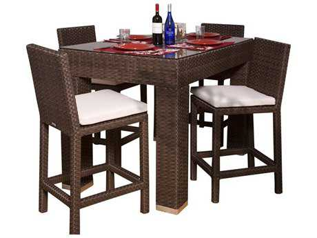 International Home Miami  Atlantic Wicker Rectangular Dark Brown Five Piece Monza Bar Set IMPLIMONZASET5RECT