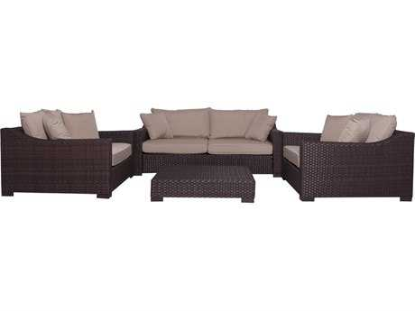 International Home Miami  Atlantic Wicker Deluxe Four Piece Oxford Deep Seating Set with Antique Beige Cushions