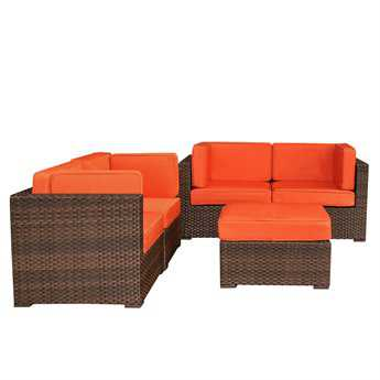 International Home Miami  Atlantic Wicker Dark Brown Five Piece Nice Sectional Set with Orange Cushions