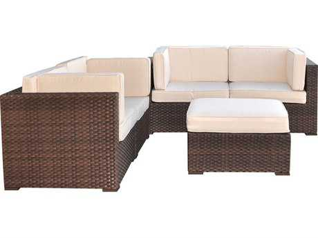 International Home Miami  Atlantic Wicker Dark Brown Five Piece Nice Sectional Set with Off-White Cushions