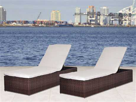 International Home Miami  Atlantic Wicker Dark Brown Two Piece Oxford Lounger Set PatioLiving