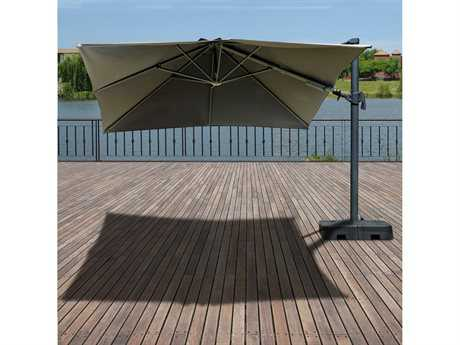 International Home Miami Atlantic Liberty Aluminum Square 10FT x 10FT Umbrela with Base IMPLISOLUNBR10BLK