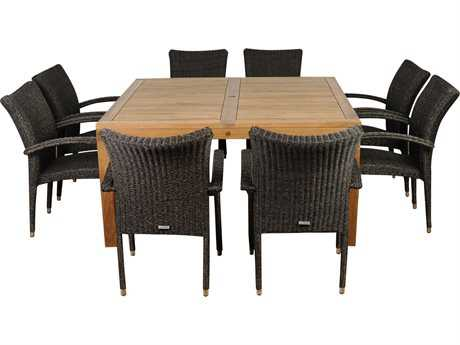 International Home Miami  Amazonia Teak Square Nine Piece Versailles Dining Set PatioLiving
