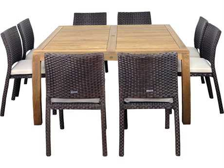 International Home Miami  Amazonia Teak & Wicker Square Nine Piece Georgia Dining Set with Off-White Cushions