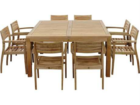 International Home Miami  Amazonia Teak Square Nine Piece Victoria Dining Set